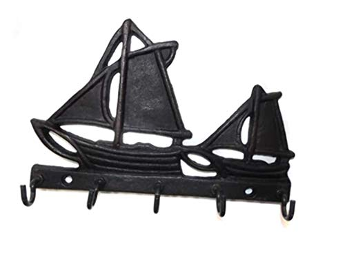 (Vintage Cast Iron Sailboat Wall Mount Key Holder Rack Hooks)