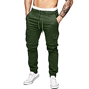 aliveGOT Men'S Cargo Jogger Pants Workout Sweatpants Casual Trousers Elastic Waist Outdoor Working Pants