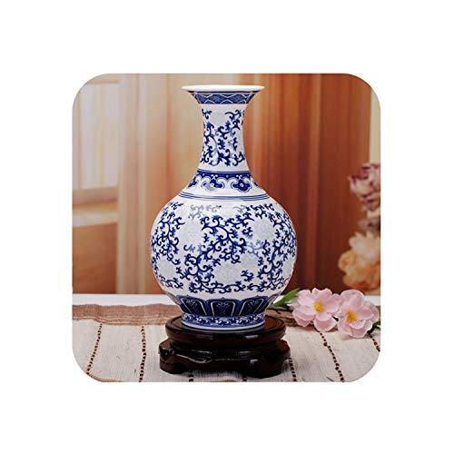 (Rice-Pattern Porcelain Chinese Vase Antique Blue-and-White Bone China Decorated Ceramic Vase,6)