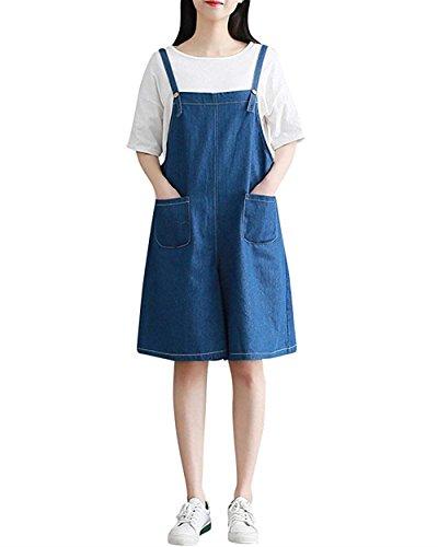 Abiti Da Lavoro Donna Estivi Moda Eleganti Jeans Giovane Grazioso Vintage Sciolto Casual Colori Solidi Con Tasche Pantaloni Baggy Overall Tuta Women Denim Blau