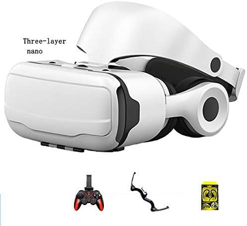バーチャルリアリティのメガネ 3Dメガネ ヘッドマウントメガネ 視聴覚機器 に適しています 3.5-6.0インチ IOS/Android 携帯電話。,白,F
