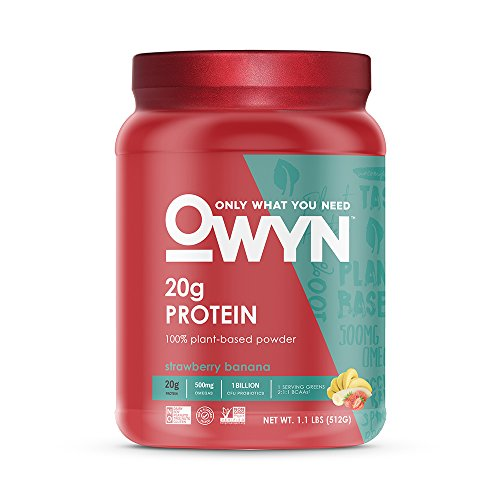 (OWYN Only What You Need 100% Vegan Plant-Based Protein Powder, Strawberry Banana, Dairy Free, Gluten Free, Soy Free, Vegetarian, 1.1 Pound Tub, 1 Count)