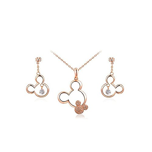 Mall of Style Mickey Jewelry Necklace and Earrings Set - Trendy Plated Character Jewelry for Teenage Girls (Rose Gold Jewelry Set) Disney Gold Jewelry Set