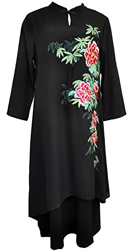 Amazing Grace Elephant Co. Women's Vintage Ethnic Style with Floral Embroidery Qipao Cheongsam Maxi Dress - Night Bloomer (XXX-Large)
