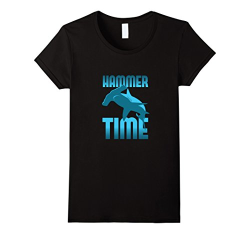 Hammer Time T-shirt - Womens Funny, Hammer Time Hammerhead Shark T-Shirt Medium Black