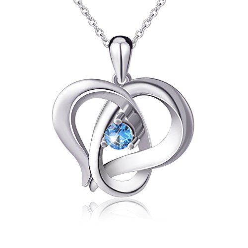 925 Sterling Silver Infinity Love Heart Good Luck Charm Pendant Necklace, Rolo Chain 18