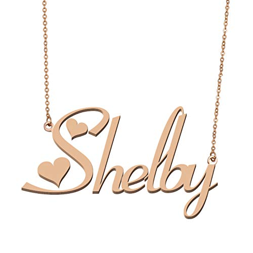 Aoloshow Customized Custom Name Necklace Personalized - Custom Made Shelby Necklace Initial Monogrammed Gift for Womens Girls
