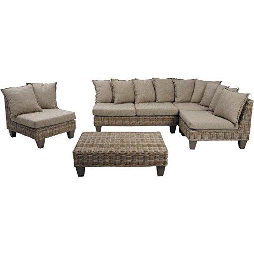 Gartenmöbel Set 5-teilig aus Weide grau und Mango Holz mit Kissen, 2 ...