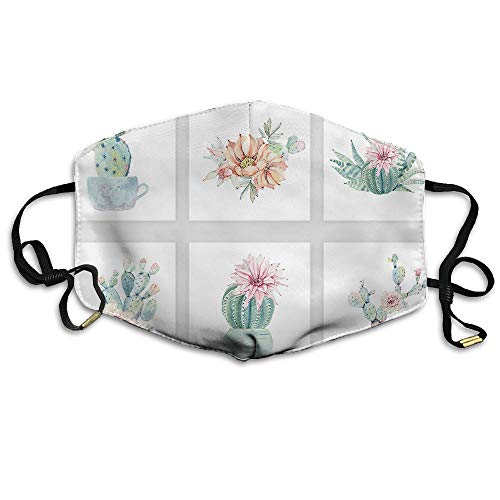 Watercolor Cacti Variety Unisex Face Mask Ear-loop Dust Mask Riding Breathable Mask