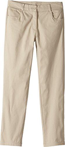 Nautica Girls' Big Flat Front Ankle Biter Pant, Khaki, 7