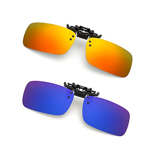 Clip-on Sunglasses 2 Pack Polarized Lens Unisex Frameless With Metal Flip Up For Driving, Outdoor Sports & Holidays -