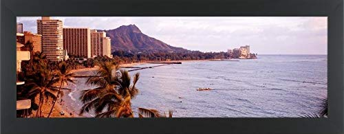 Easy Art Prints Panoramic Images's 'Waikiki Beach, Oahu, Hawaii, USA' Premium Framed Canvas Art - 36