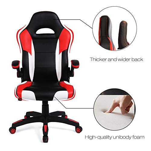 SEATZONE Racing Car Style Bucket Seat Gaming Chair, Curved High-Back Executive Swivel Office Leather Chair, Adjustable Computer Chair with Flip-Up Armrest (RedWhite) - incensecentral.us