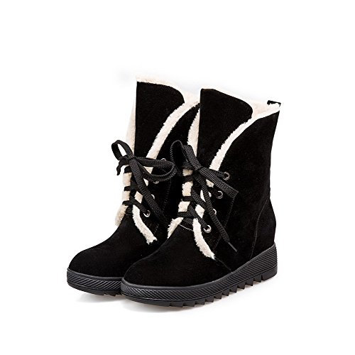 Allhqfashion Women's Lace-up Kitten-Heels Imitated Suede Solid Low-Top Boots Black whiH2