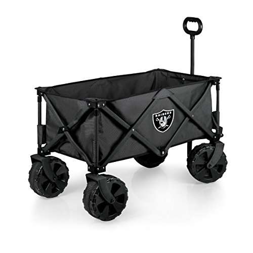 PICNIC TIME NFL Oakland Raiders Elite Edition Collapsible Adventure Wagon with All-Terrain Wheels