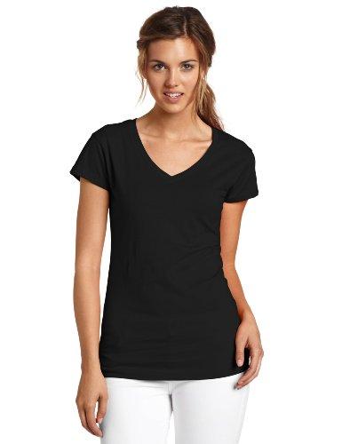 Short Sleeve V-Neck Tee,Black,Medium (Solid Womens Cap Sleeve T-shirt)