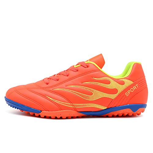 Xing Lin Chaussures De Football   Broken Nails Chaussures Antidérapantes Adultes Des Jeunes Hommes Et Femmes En Cuir Chaussures De Football, 43, Orange