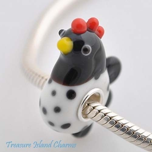 (Chicken Black & White Hen Murano Glass 925 Sterling Silver European Bead Charm Crafting Key Chain Bracelet Necklace Jewelry Accessories Pendants)