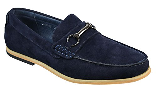 Mens Slip On Buckle Horsebit Driving Shoes Loafers Retro Smart Casual Suede Blue XdjLQBWB