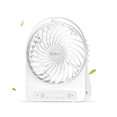 Price comparison product image Yoobao F01 Mini Portable USB Fan Table Desktop Personal Fan 3300mAh Rechargeable Battery Powered Fan for Home and Office Cooling, Traveling Camping Handheld Fan with Flashlight (3 Speeds) - White