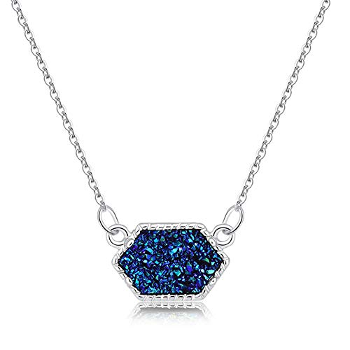 (MYANAIL 3 Colors Option Resin Drusy Look Hexagon Pendant Necklace Druzy Oval Pendant Choker Statement Necklaces for Women Jewelry Gift (Blue))