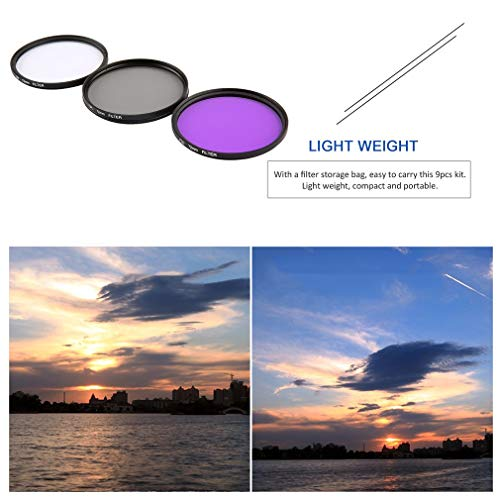 Bangcool 9PCS Kit 2/2.3/2.4/2.6in UV CPL ND4 Filter Storage Bag with Cleaning Cloth