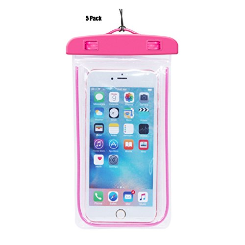 [5Pack] Pink Waterproof Case, CaseHQ Clear Universal Waterproof Case, Dry Bag, Pouch, Transparent for iPhone 7 ,7plus 8,8 plus,6 6S Plus SE 5S 5C, Samsung Galaxy s8,s8 plus,S7 S6 edge, Note 5 etc.