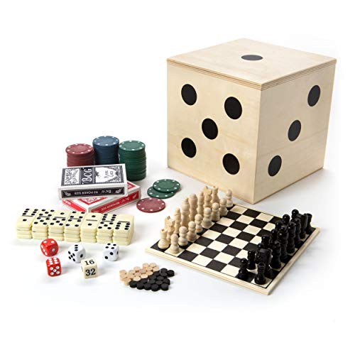Tri-Coastal Design Deluxe Travel Game Set - Includes Checkers, Chess, Dominoes, Backgammon, Double Sided Game Board, 2 Card Decks, 60 Poker Chips and 5 ()