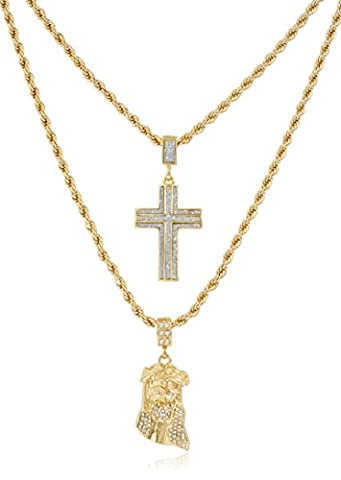Double Layer Necklace with Sandblast Cross & Iced Out Jesus Pendants 22-28 Inch Rope Chain Necklace - Goldtone or Silvertone (Goldtone) (Ice Jewelry For Men)