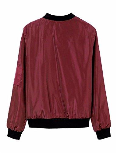 de Vino 2 de de la la para del largo manga mujeres vendimia larga Abrigo las de JDS Tinto chaqueta bombardero la moda la Fortuning's Fg1txC