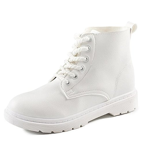 combattere NERO tacco Autunno ROSA Scarpe donna HSXZ Mid basso da di Inverno punta per scarponi White Calf BIANCO tonda in pelle Nappa Stivali Stivali Casual n0z07B
