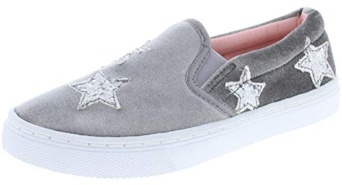 - Capelli New York Girls Velvet Slip On Sneaker with Glitter Stars Applique Grey 1