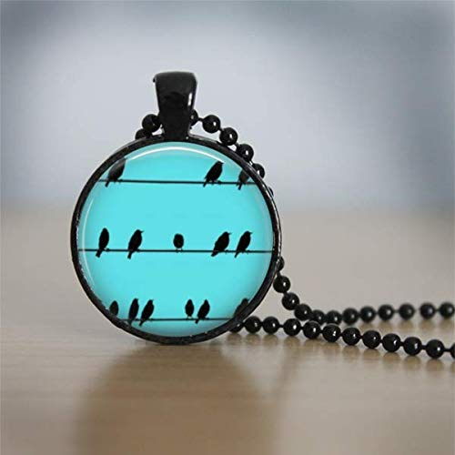 Teal Birds Silhouette on a wire Black Necklace Pendant Decoupage Artwork Jewelry