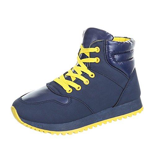 Ital-Design - Zapatillas de Material Sintético para mujer Amarillo - Gelb Blau