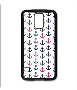 Samsung Galaxy S5 SV Black Rubber Silicone Case - little anchors pink and blue cute