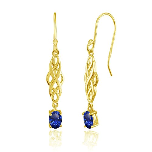 Yellow Gold Flashed Sterling Silver Created Blue Sapphire Oval Celtic Knot Drop Dangle Earrings Yellow Gold Blue Sapphire Earrings