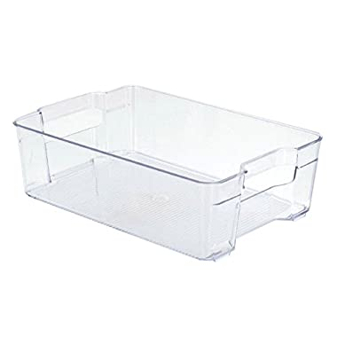 Large Stackable Storage Bin | Freezer Basket | Stackable Food Container or Storage | Refrigerator, Freezer or Cabinet | 14.8 x 8.25 x 4 inches | One Bin