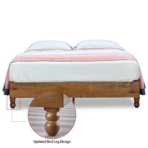 MUSEHOME 12 Inch Wood Bed Frame Rustic Style Eliminates the Need for a Boxspring, Natural Pine Finish, Twin Review
