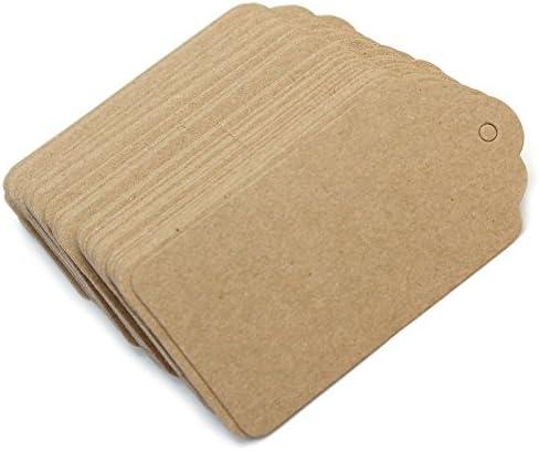 Zedtom 100-Stück Papieranhänger Anhänger Blank Etikett Anhängeetiketten Preisetiketten Geschenkanhängern Papier-Karton für DIY Deko
