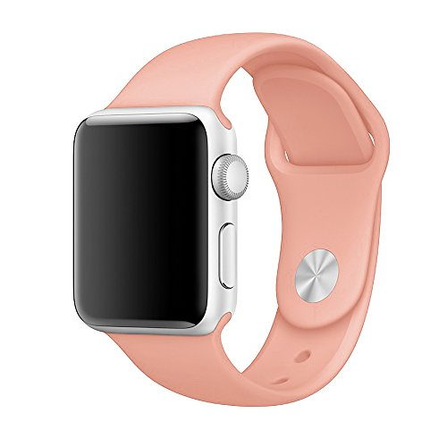 Vteyes Apple Watch Sport Band, Soft Silicone Replacement Strap For Apple Watch Series 1 Series 2 (Vintage Rose, 42MM S/M)
