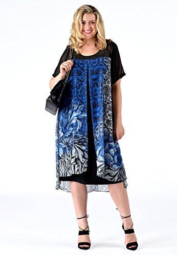 480bd1028aa30 Druck Größen Mehrfarbig Kleid Große Damen Mit Yoek legno.aldgroupe.com