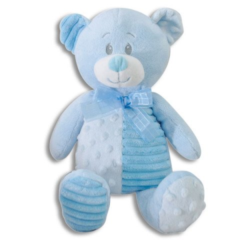 The Petting Zoo Nubby Cord Plush Teddy Bear in Blue~Baby Shower and Newborn Gift