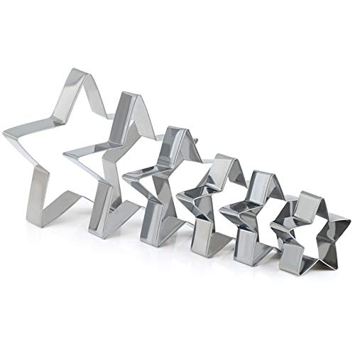 (GWHOLE Star Cookie Cutters Set Cookie Tree Cutter for Kids Birthday Holiday Party, Set of 6)