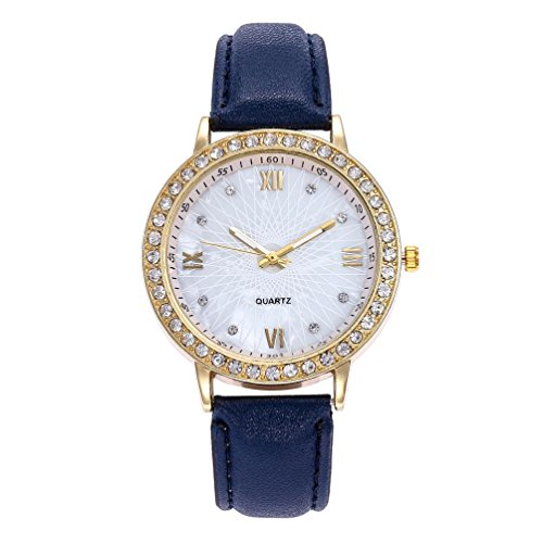 Price comparison product image Women Girls Analog Quartz Watches On Sale Clearance Cuekondy Casual Leather Stainless Steel Sport Dress Wrist Watch (Blue)