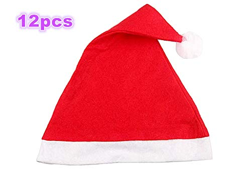 12pcs Christmas Santa Hat,Economical Traditional Red&White Xmas Santa Claus' Cap for Holiday Party(Upgraded the Size&Material in 2018)