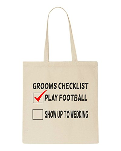 wedding gift play checklist grooms football party tote beige up