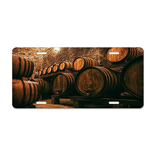 LLgLOOhoOPPPJDh Barrels for Storage of Wine Italy Oak Container in Cold Dark Underground Cellar License Plate Holder Aluminum Metal License Plate Cover