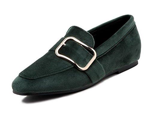 Amoonyfashion Dames Lage Hakken Geïmiteerd Suède Pull-on Gesloten-teen Pumps-schoenen Army Green