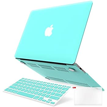 """iBenzer Basic Soft-Touch Series Plastic Hard Case, Keyboard Cover, Screen Protector for Apple Macbook Air 13-inch 13"""" A1369/1466, Aqua"""