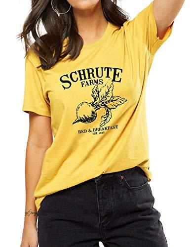 OUNAR The Office Tshirt Schrute Farms Cute Graphic Tee for Women Dunder Paper Company Mifflin TV Show Shirt T-Shirt (S, Yellow) ()